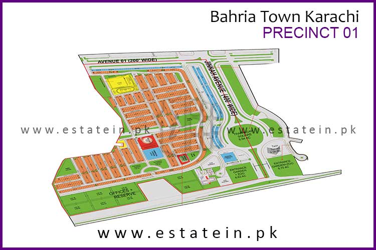 Site Plan of Precinct-1 of Bahria Town Karachi