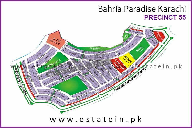 Site Plan of Precinct-55 of Bahria Paradise