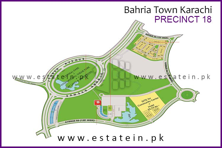 Site Plan of Precinct-18 of Bahria Town Karachi
