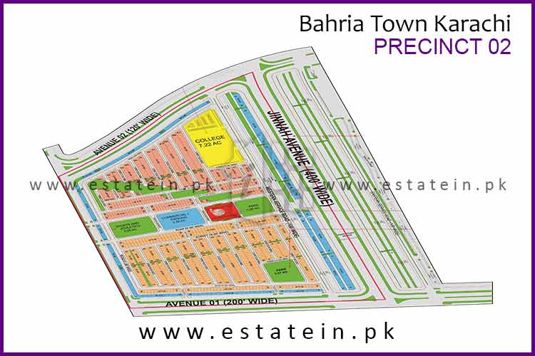 Site Plan of Precinct-2 of Bahria Town Karachi