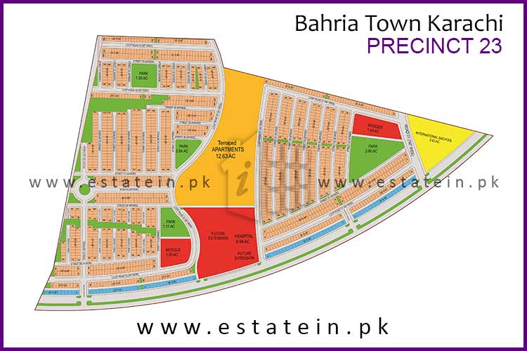 Site Plan of Precinct-23 of Bahria Town Karachi