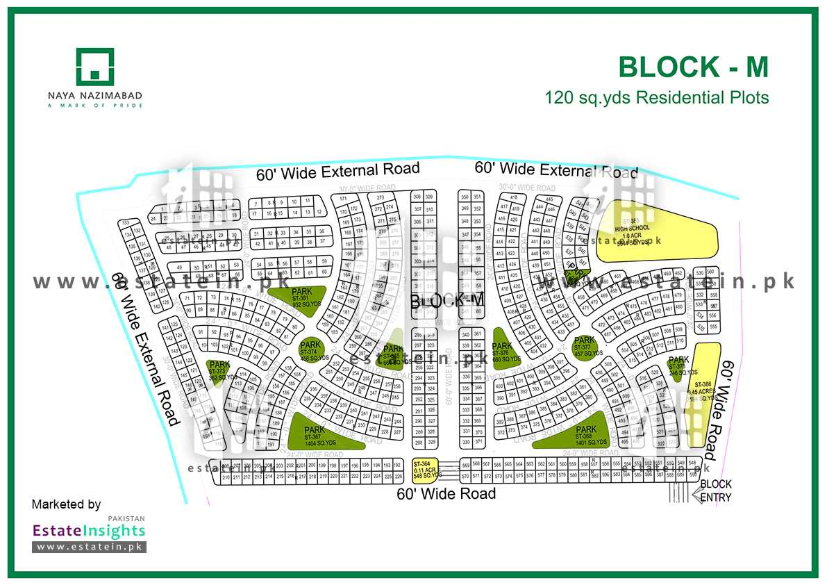 Site Plan of Block M of Naya Nazimabad