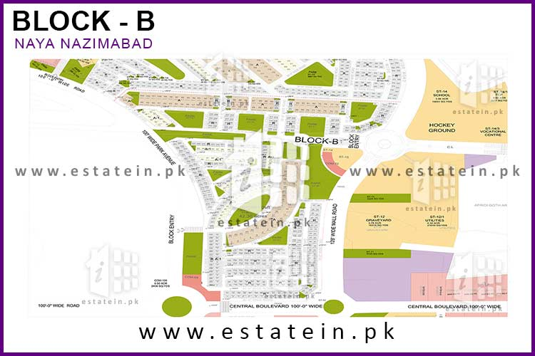 Site Plan of Block B of Naya Nazimabad
