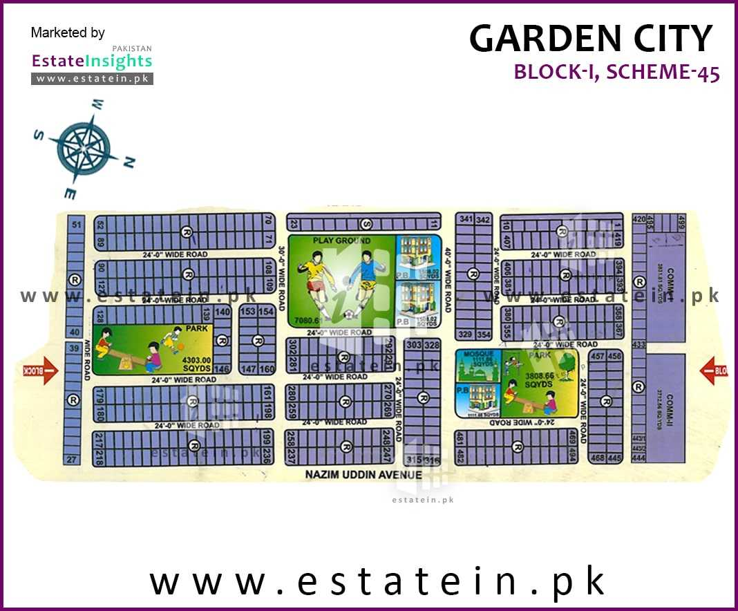 Site Plan of Block I of Garden City