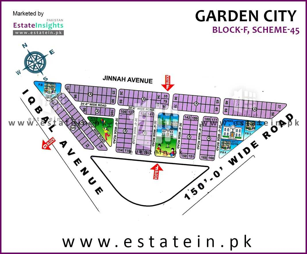 Site Plan of Block F of Garden City