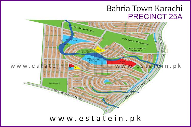 Site Plan of Precinct-25A of Bahria Town Karachi