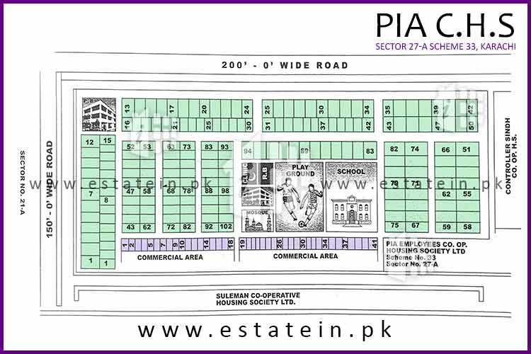 Site Plan of PIA CHS 27/A of PIA Cooperative Housing Society