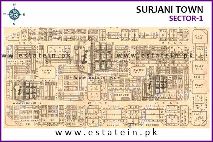 Site Plan of Sector-1 of Surjani Town
