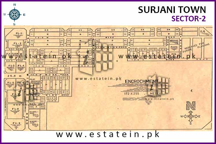 Site Plan of Sector-2 of Surjani Town
