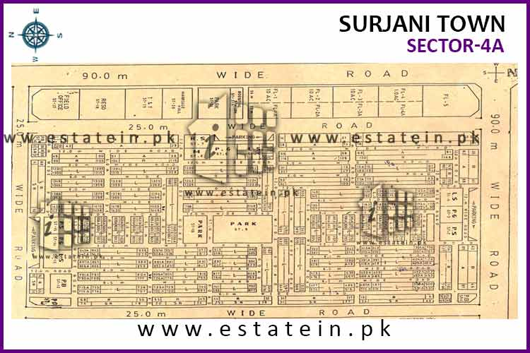 Site Plan of Sector-4 (A) of Surjani Town