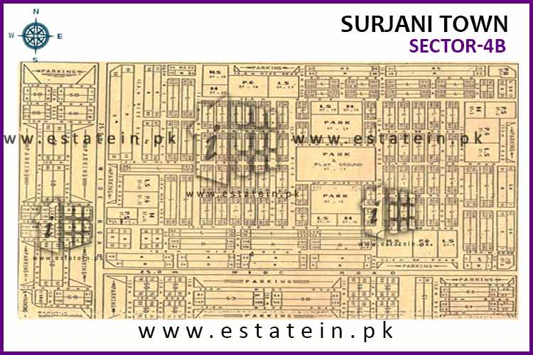 Site Plan of Sector-4 (B) of Surjani Town