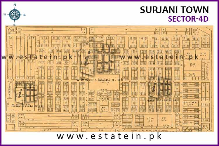 Site Plan of Sector-4 (D) of Surjani Town