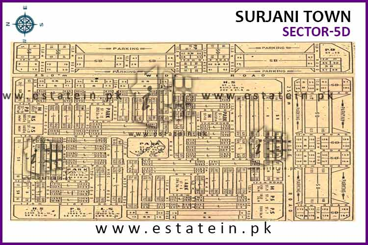Site Plan of Sector-5 (D) of Surjani Town