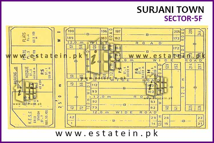 Site Plan of Sector-5 (F) of Surjani Town