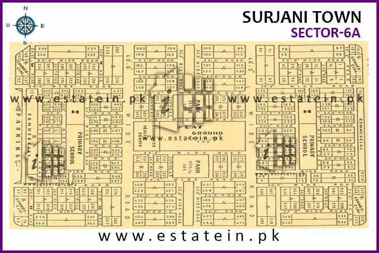 Site Plan of Sector-6 (A) of Surjani Town
