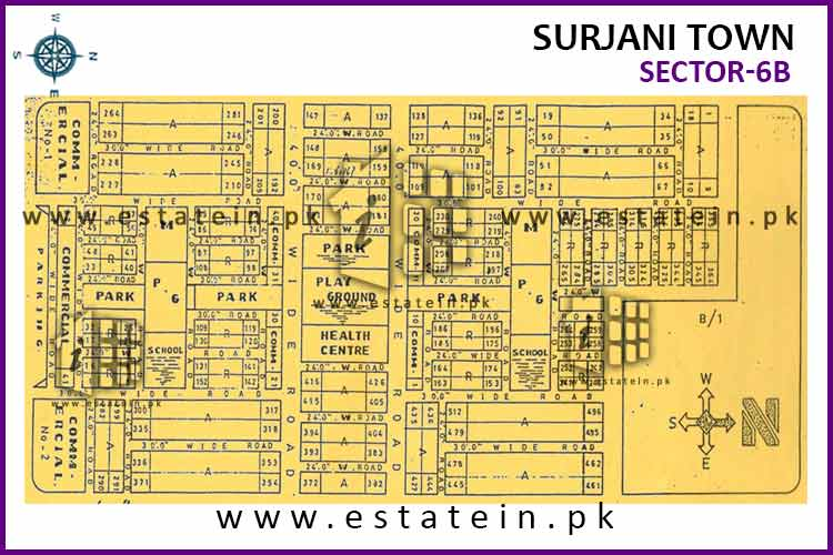 Site Plan of sector-6 (B) of Surjani Town