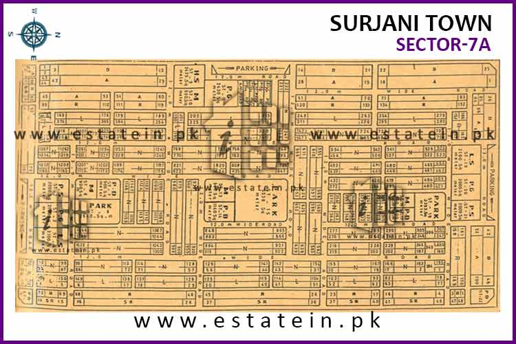 Site Plan of Sector-7 (A) of Surjani Town