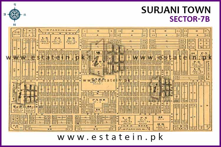 Site Plan of Sector-7 (B) of Surjani Town