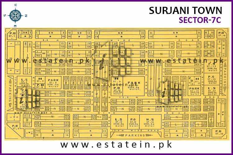 Site Plan of Sector-7 (C) of Surjani Town