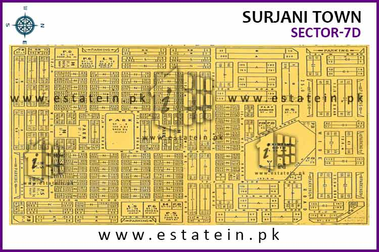 Site Plan of Sector-7 (D) of Surjani Town