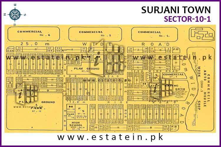 Site Plan of Sector-10 of Surjani Town