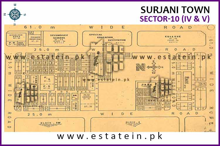 Site Plan of Sector-10 (IV) of Surjani Town