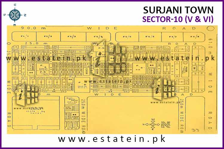 Site Plan of Sector-10 (V) of Surjani Town