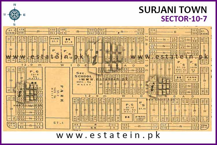 Site Plan of Sector-10 (VII) of Surjani Town
