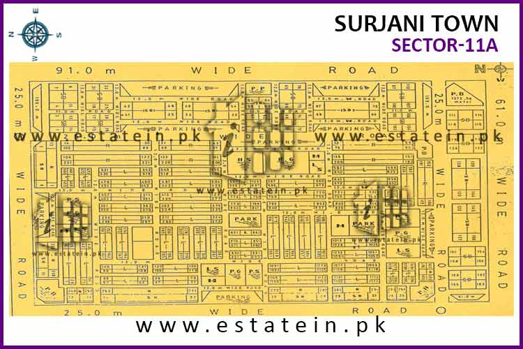 Site Plan of Sector-11 (A) of Surjani Town