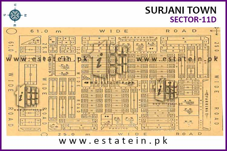 Site Plan of Sector-11 (D) of Surjani Town