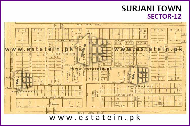 Site Plan of Sector-12 of Surjani Town