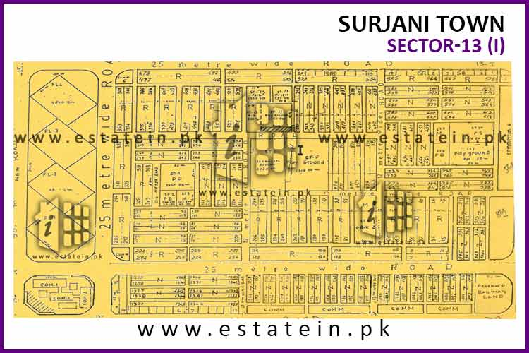 Site Plan of Sector-13 (I) of Surjani Town
