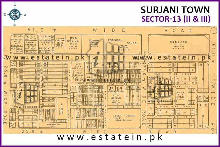 Site Plan of Sector-13 (II) of Surjani Town