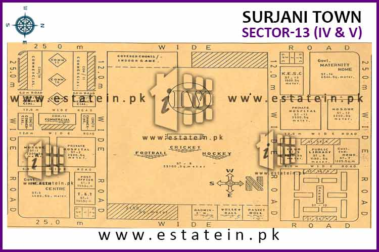 Site Plan of Sector-13 (IV) of Surjani Town