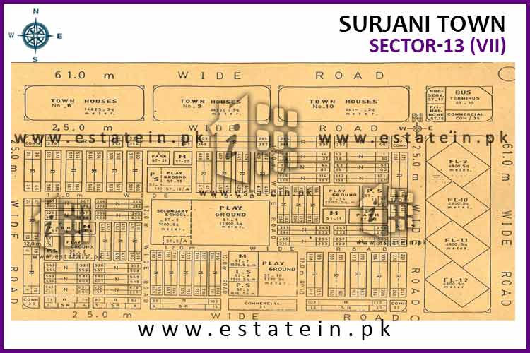 Site Plan of Sector-13 (VII) of Surjani Town