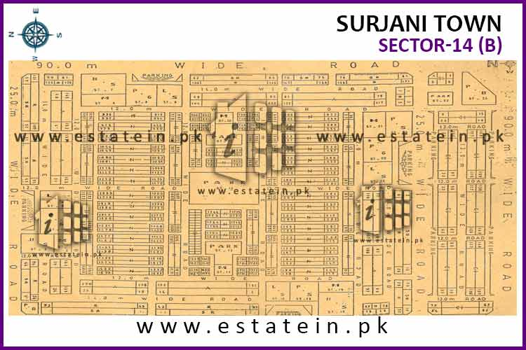 Site Plan of Sector-14 (B) of Surjani Town
