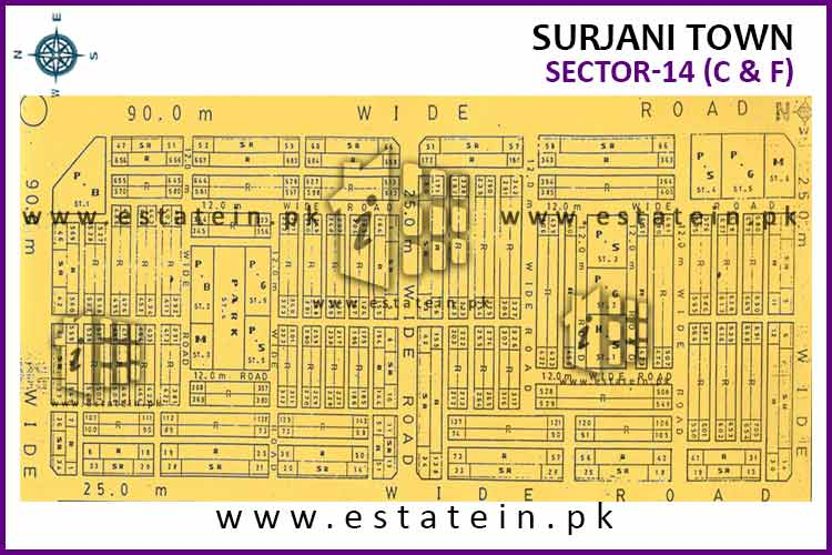 Site Plan of Sector-14 (F) of Surjani Town