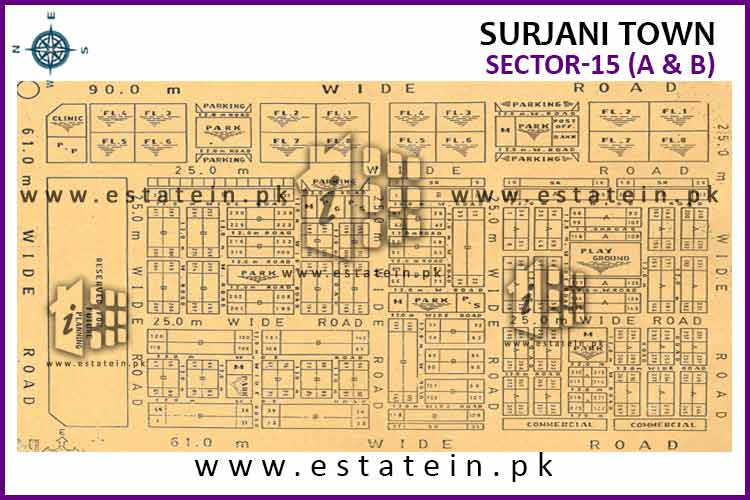 Site Plan of Sector-15 (B) of Surjani Town