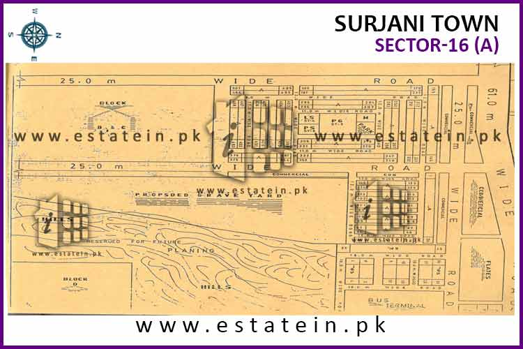 Site Plan of Sector-16 (A) of Surjani Town