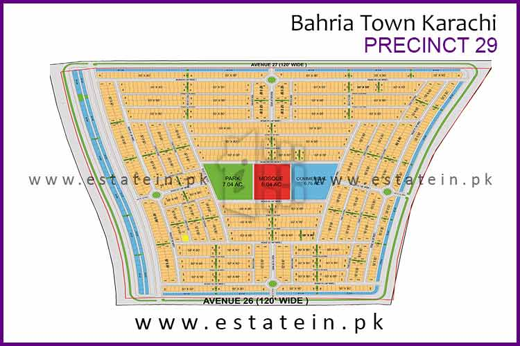 Site Plan of Precinct-29 of Bahria Town Karachi