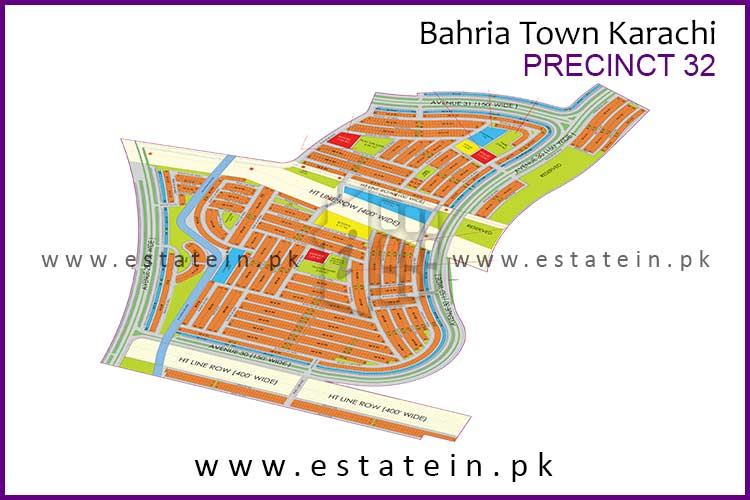 Site Plan of Precinct-32 of Bahria Town Karachi
