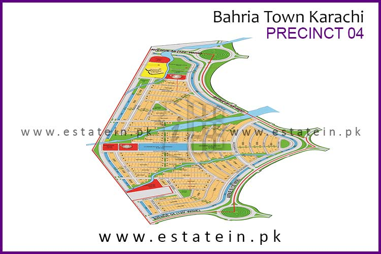 Site Plan of Precinct-4 of Bahria Town Karachi