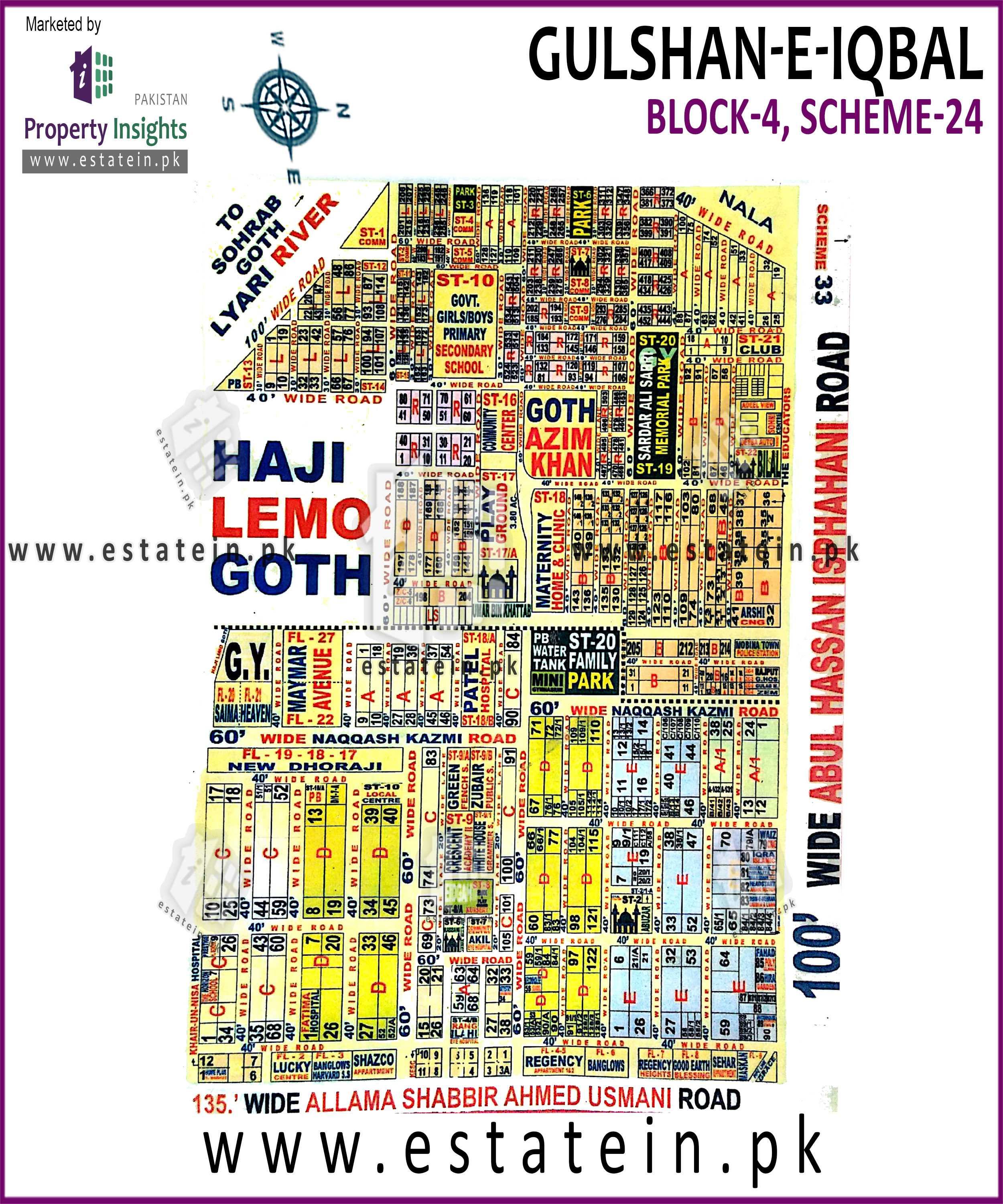 Site Plan of Block 4 of Gulshan-e-Iqbal Block-4