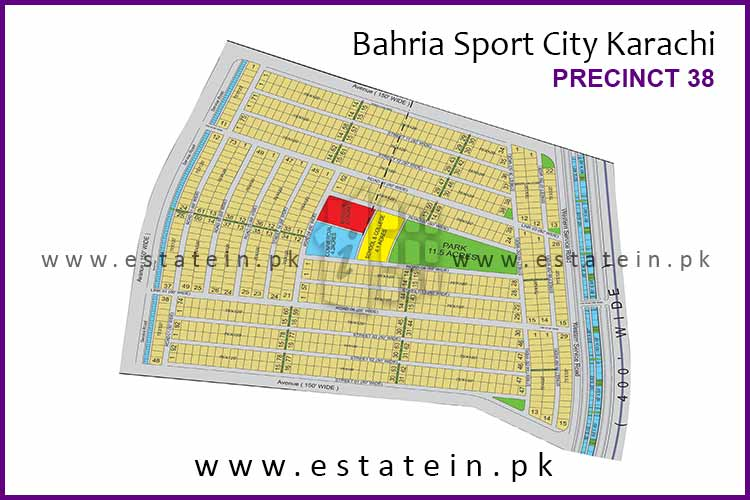 Site Plan of Precinct-38 of Bahria Sports City