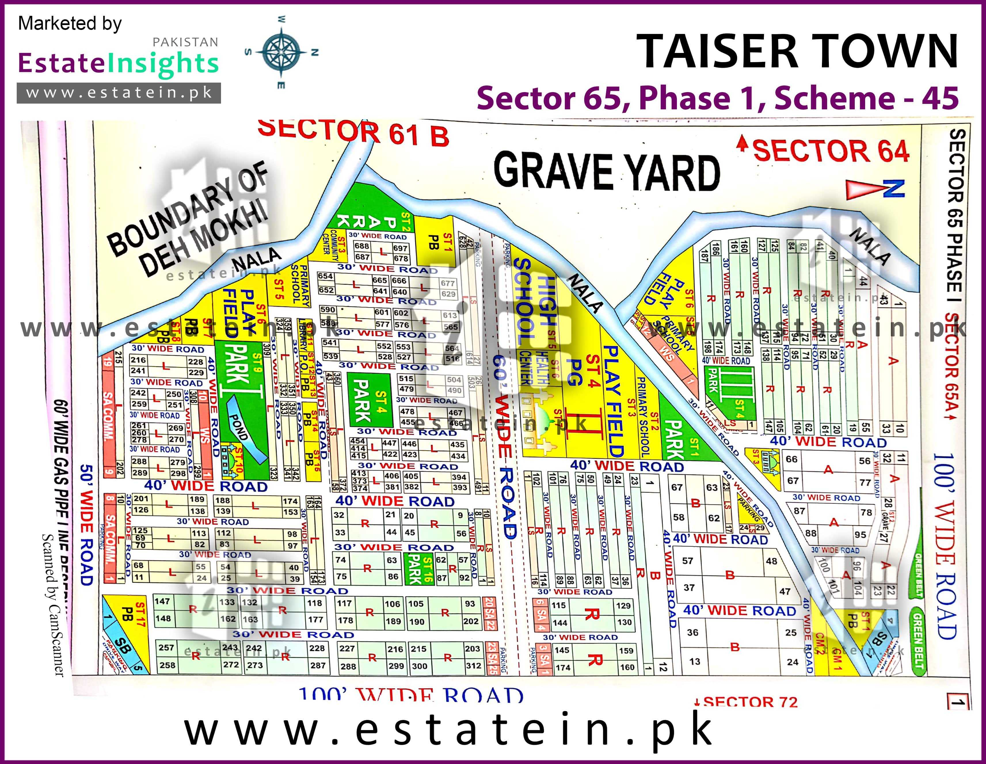 Site Plan of Sector 65 of Taiser Town Phase I