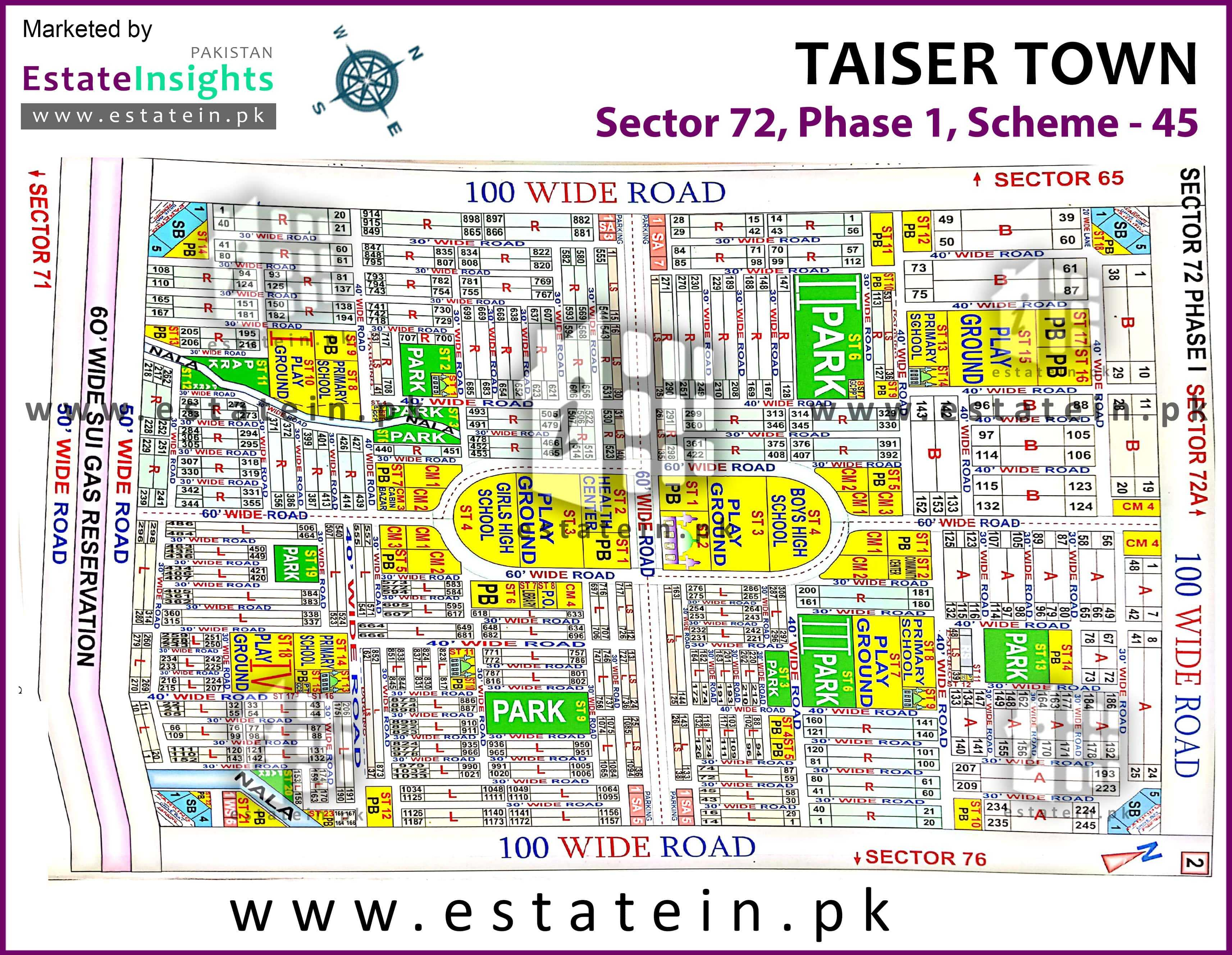 Site Plan of Sector 72 of Taiser Town Phase I