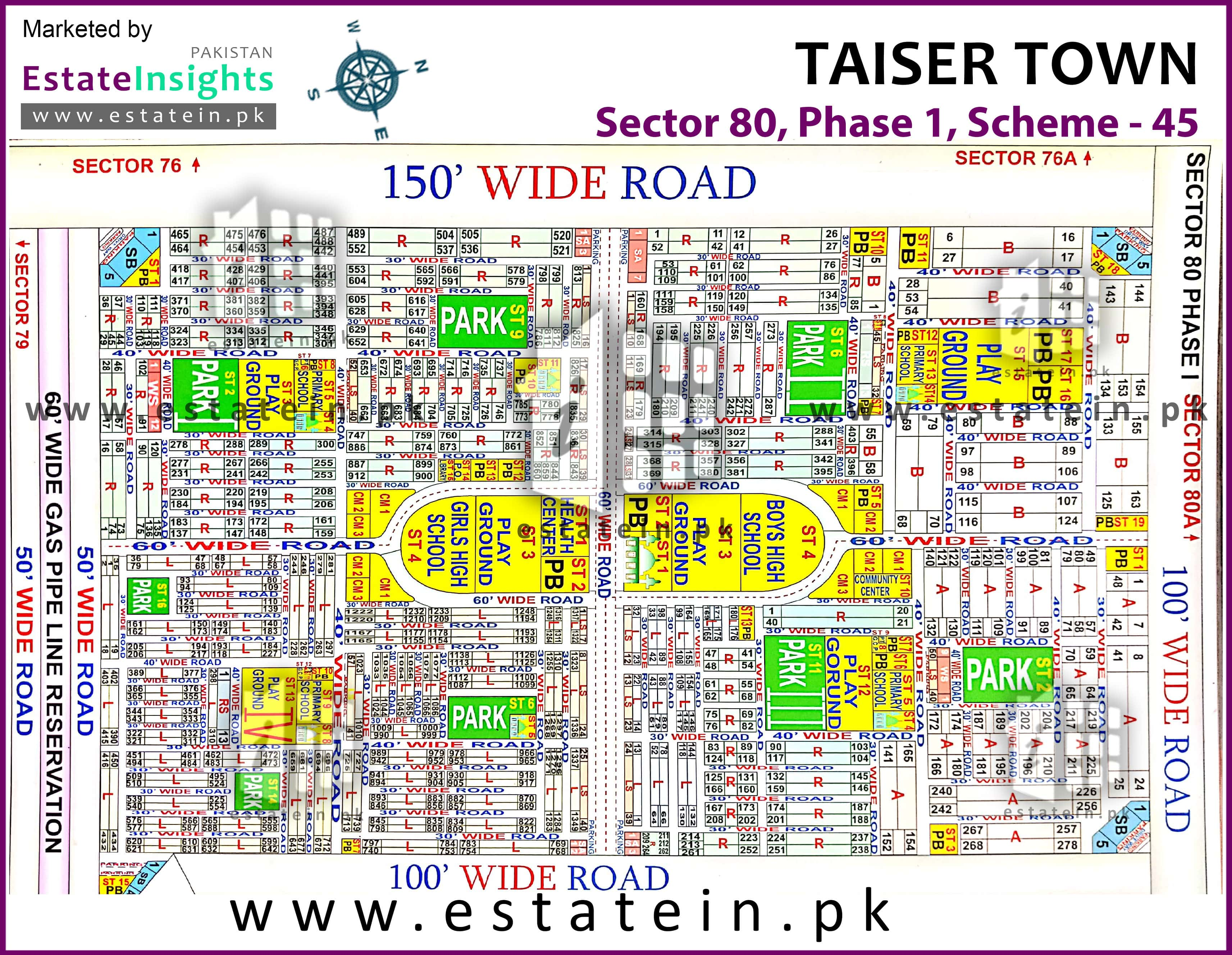80 Sqy Plot for Sale in Taiser Town Sector 80/4 Plot for Sale in Karachi
