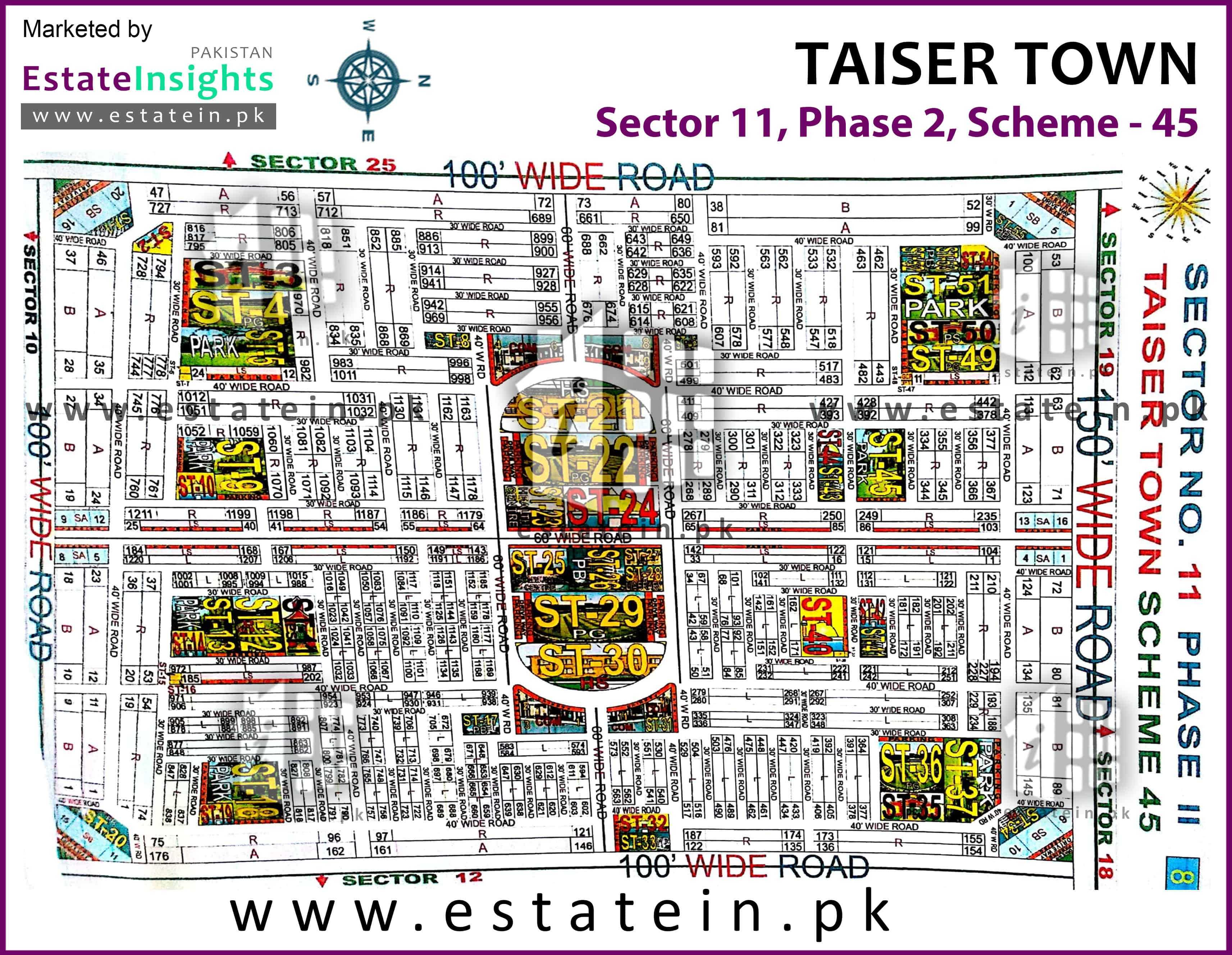 Site Plan of Sector 11 of Taiser Town Phase II
