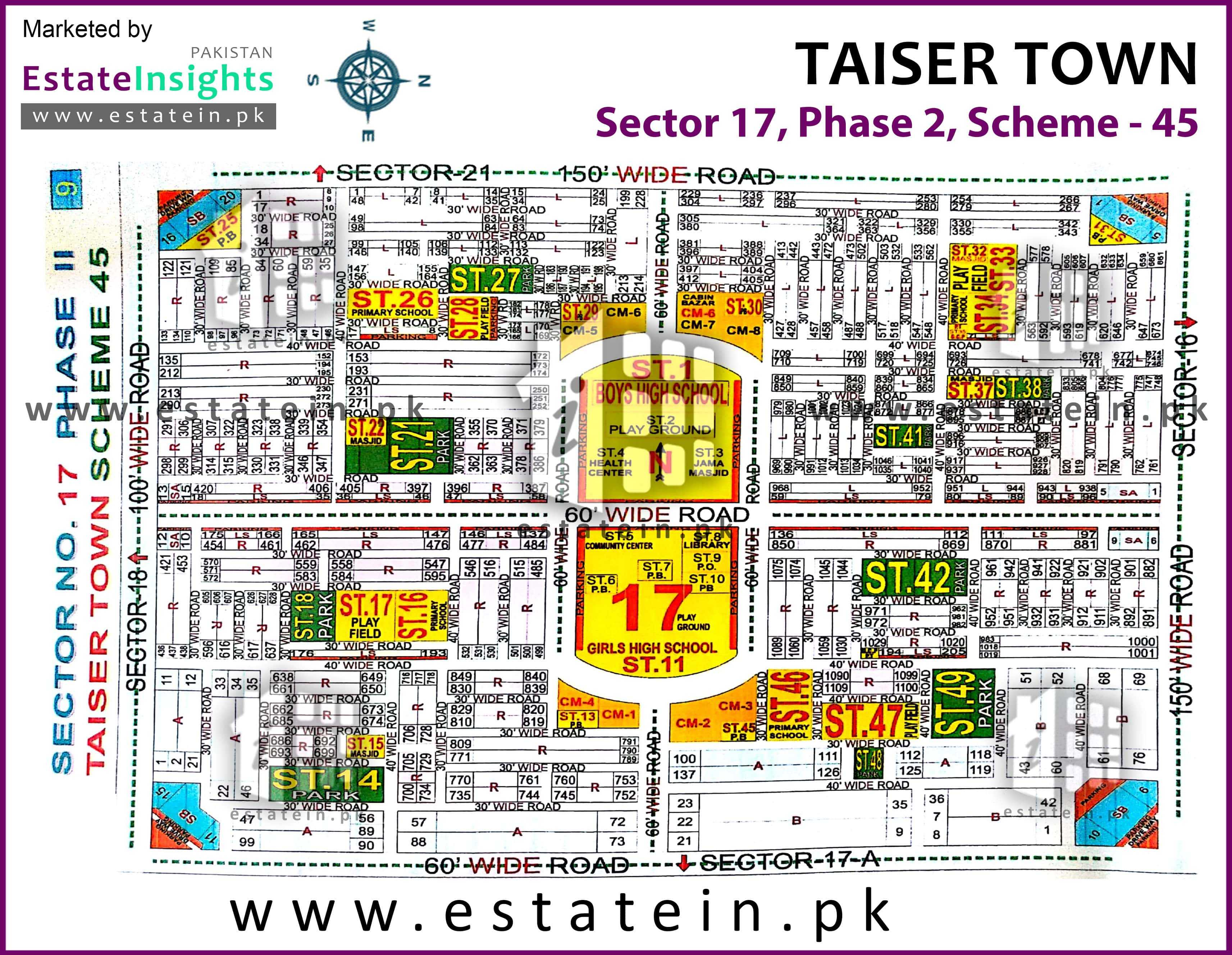 Site Plan of Sector 17 of Taiser Town Phase II