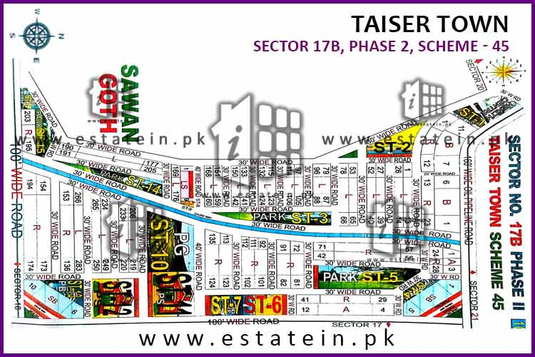 Site Plan of Sector 17B of Taiser Town Phase II
